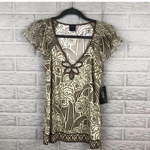 Nicole Miller Flutter Embroidered Cut Out Blouse